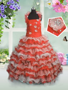 Wonderful Sleeveless Organza Floor Length Lace Up Little Girl Pageant Dress in Coral Red with Beading and Appliques and Ruffled Layers