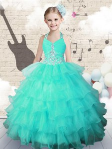 Discount Halter Top Floor Length Turquoise Pageant Dress Womens Organza Sleeveless Beading and Ruffled Layers