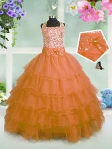 New Style Orange Ball Gowns Beading and Ruffled Layers and Bowknot Pageant Gowns For Girls Zipper Organza Sleeveless Floor Length