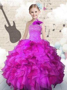 Fuchsia Lace Up One Shoulder Beading and Ruffles Child Pageant Dress Organza Sleeveless