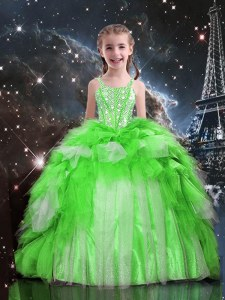 Sleeveless Beading and Ruffles Floor Length Little Girl Pageant Gowns