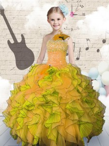 Perfect Ball Gowns Little Girl Pageant Dress Orange Strapless Organza Sleeveless Floor Length Lace Up