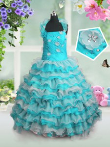 Sleeveless Beading and Appliques and Ruffled Layers Lace Up Pageant Gowns For Girls