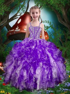 Lovely Sleeveless Beading and Ruffles Lace Up Little Girl Pageant Gowns