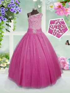 Amazing Floor Length Side Zipper Little Girls Pageant Dress Rose Pink for Party and Wedding Party with Beading