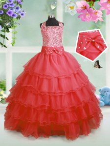 Floor Length Coral Red Little Girl Pageant Dress Straps Sleeveless Zipper