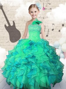 Organza One Shoulder Sleeveless Lace Up Beading and Ruffles Little Girl Pageant Dress in Turquoise