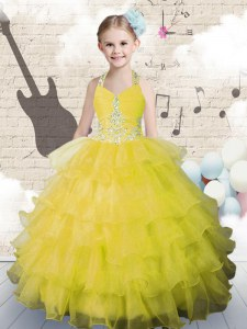Halter Top Sleeveless Little Girls Pageant Dress Floor Length Beading and Ruffled Layers Yellow Green Organza