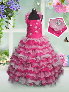 Graceful Hot Pink Ball Gowns Organza Straps Sleeveless Beading and Appliques and Ruffled Layers Floor Length Lace Up Pageant Dress for Girls
