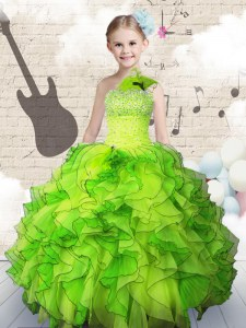 Ball Gowns Organza One Shoulder Sleeveless Beading and Ruffles Floor Length Lace Up Kids Pageant Dress