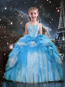 Baby Blue Lace Up Spaghetti Straps Beading and Ruffles Child Pageant Dress Organza Sleeveless