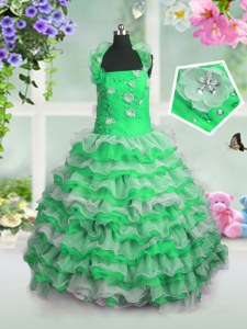 Straps Sleeveless Organza Little Girls Pageant Gowns Beading and Appliques and Ruffled Layers Lace Up