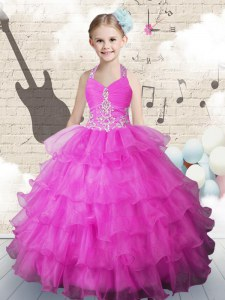 Inexpensive Halter Top Ruffled Fuchsia Sleeveless Organza Lace Up Kids Pageant Dress for Party and Wedding Party