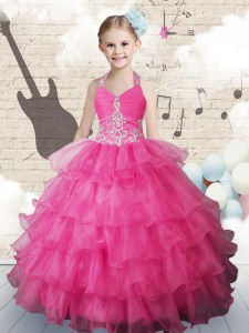 Cheap Ruffled Halter Top Sleeveless Lace Up Little Girls Pageant Dress Hot Pink Organza