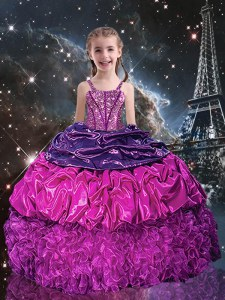 Purple Organza Lace Up Pageant Dress for Teens Sleeveless Floor Length Beading and Ruffles and Pick Ups
