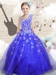 Blue Sleeveless Organza Lace Up Child Pageant Dress for Party and Wedding Party