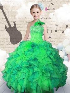 Green Organza Lace Up One Shoulder Sleeveless Floor Length Little Girl Pageant Gowns Beading and Ruffles