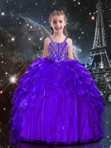 Dark Purple Sleeveless Floor Length Beading and Ruffles Lace Up Girls Pageant Dresses