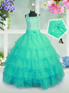Turquoise Square Lace Up Beading and Ruffled Layers Kids Pageant Dress Sleeveless