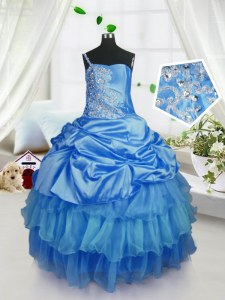 Floor Length Lace Up Little Girls Pageant Dress Wholesale Baby Blue for Military Ball and Sweet 16 and Quinceanera with Beading and Ruffled Layers and Pick Ups