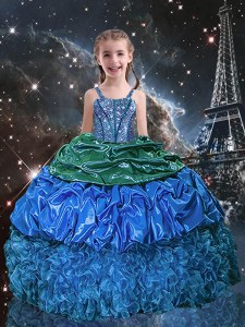 Blue Custom Made Pageant Dress Party and Wedding Party and For with Beading and Ruffles and Pick Ups Spaghetti Straps Sleeveless Lace Up