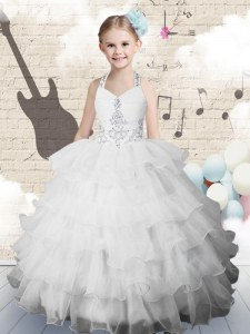 Ruffled Halter Top Sleeveless Lace Up Little Girls Pageant Dress White Organza
