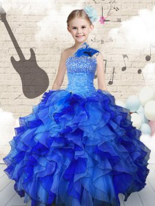 Hot Sale Floor Length Navy Blue Kids Pageant Dress Strapless Sleeveless Lace Up