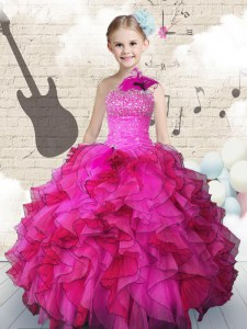 Graceful Hot Pink High School Pageant Dress Party and Wedding Party and For with Beading and Ruffles One Shoulder Sleeveless Lace Up