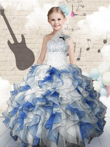 New Arrival One Shoulder Sleeveless Lace Up Kids Formal Wear Blue And White Organza