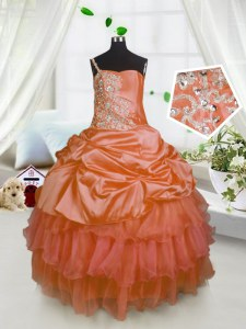 Orange One Shoulder Neckline Beading and Ruffled Layers and Pick Ups Winning Pageant Gowns Sleeveless Lace Up