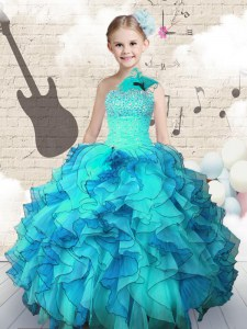 One Shoulder Floor Length Ball Gowns Sleeveless Aqua Blue Pageant Dress for Womens Lace Up