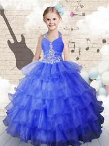 Elegant Halter Top Beading and Ruffled Layers Pageant Dress for Womens Royal Blue Lace Up Sleeveless Floor Length