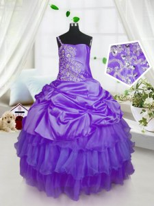 Fashionable Floor Length Lace Up Girls Pageant Dresses Purple for Military Ball and Sweet 16 and Quinceanera with Beading and Ruffled Layers and Pick Ups