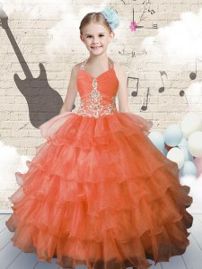 High Class Ruffled Ball Gowns Kids Pageant Dress Orange Halter Top Organza Sleeveless Floor Length Lace Up