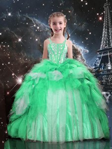 Latest Ball Gowns Little Girls Pageant Dress Apple Green Spaghetti Straps Organza Sleeveless Floor Length Lace Up