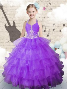 Halter Top Lavender Lace Up Little Girl Pageant Dress Beading and Ruffled Layers Sleeveless Floor Length