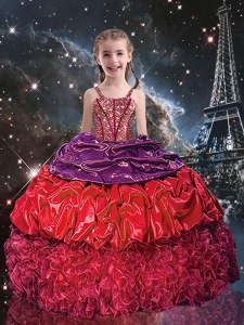Floor Length Red Kids Pageant Dress Organza Sleeveless Beading and Ruffles and Pick Ups