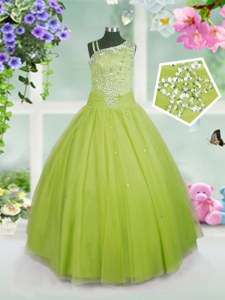 Exquisite Asymmetric Sleeveless Side Zipper Little Girls Pageant Dress Wholesale Apple Green Tulle