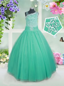 Nice Floor Length Aqua Blue Girls Pageant Dresses Asymmetric Sleeveless Side Zipper