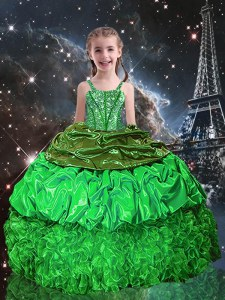 Popular Floor Length Little Girls Pageant Dress Wholesale Organza Sleeveless Beading and Ruffles and Pick Ups
