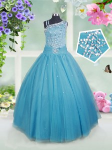 Sleeveless Floor Length Beading Side Zipper Kids Pageant Dress with Teal