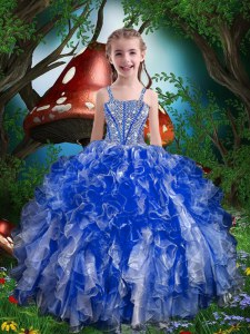 Royal Blue Little Girls Pageant Dress Party and Wedding Party and For with Beading and Ruffles Spaghetti Straps Sleeveless Lace Up