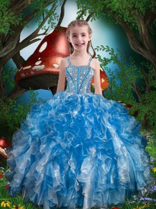 Great Blue Little Girl Pageant Dress Party and Wedding Party and For with Beading and Ruffles Spaghetti Straps Sleeveless Lace Up