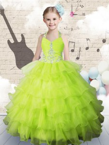 New Style Sleeveless Lace Up Floor Length Beading and Ruffled Layers Kids Formal Wear