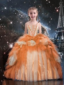 Gold Ball Gowns Beading and Ruffled Layers Kids Pageant Dress Lace Up Tulle Sleeveless Floor Length