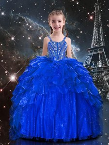 Floor Length Royal Blue Little Girls Pageant Gowns Organza Sleeveless Beading and Ruffles