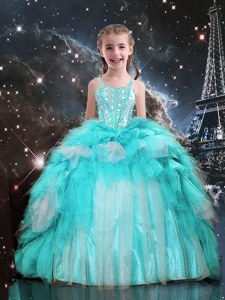 Aqua Blue Pageant Dress Party and Wedding Party and For with Beading and Ruffles Spaghetti Straps Sleeveless Lace Up