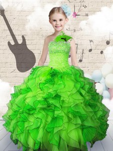 Sleeveless Organza Floor Length Lace Up Pageant Dress for Girls in with Beading and Ruffles