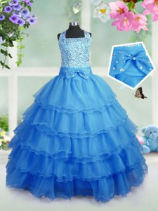 Stylish Floor Length Zipper High School Pageant Dress Baby Blue for Party and Wedding Party with Beading and Ruffled Layers