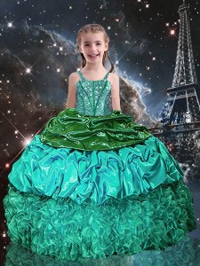 Sleeveless Floor Length Beading and Ruffles Lace Up Little Girls Pageant Dress Wholesale with Green